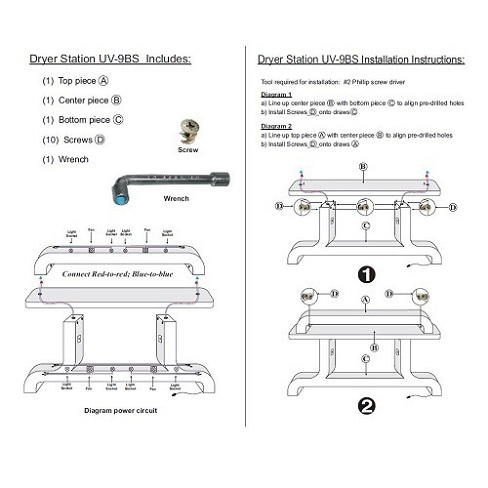 Custom Made Nail Dryer Station UV9 (Maple/Oak)