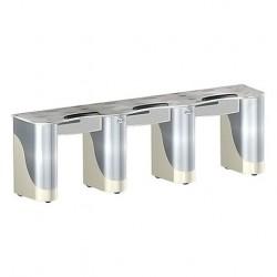 Custom Triple Nail Table Beige Aluminum F- 000