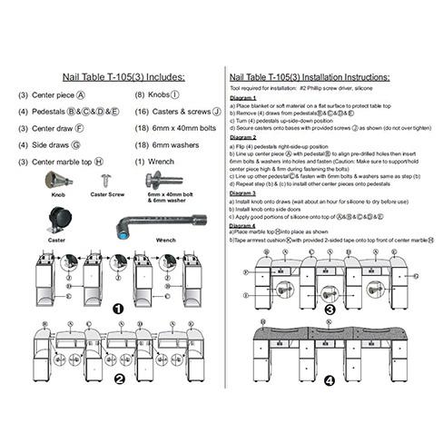Triple Nail Table Aluminum