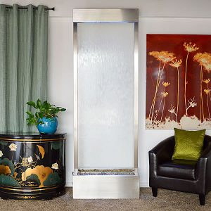 8′ Stainless Gardenfall Clear Glass