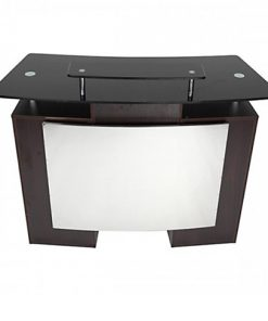 Glass Top Reception Table Walnut