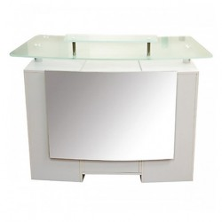 Glass Top Reception Table White 000