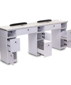 White Sonoma Double Nail Table with Exhaust