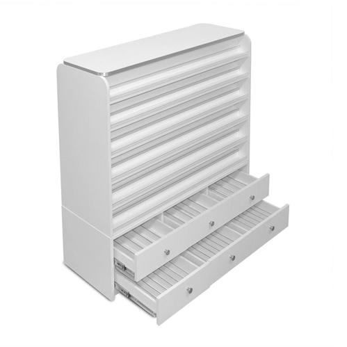 White Sonoma Polish & Powder Rack with Cabinets