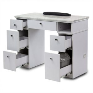 White Sonoma Single Nail Table with Exhaust